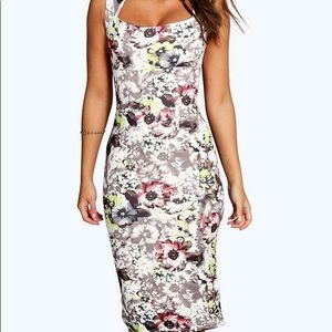 Boohoo Neve Floral Midi Dress